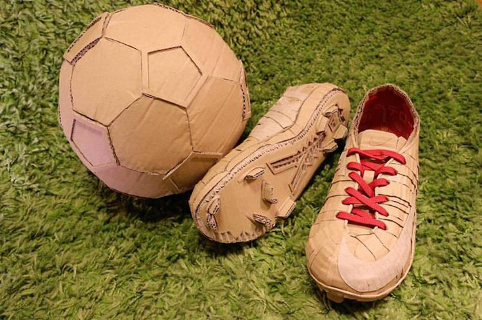 monami ohno cardboard sculptures soccer ball cleats