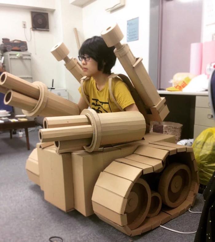 monami ohno cardboard sculptures tank suit