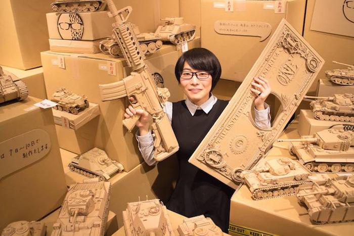 monami ohno cardboard sculptures tanks