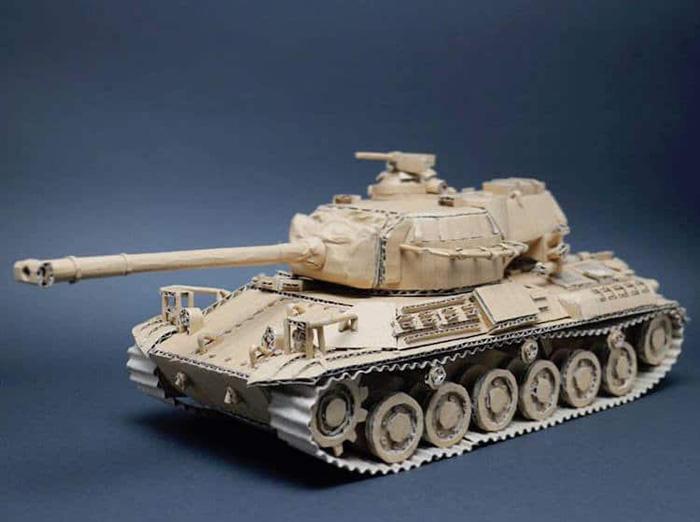 monami ohno cardboard sculptures war tank