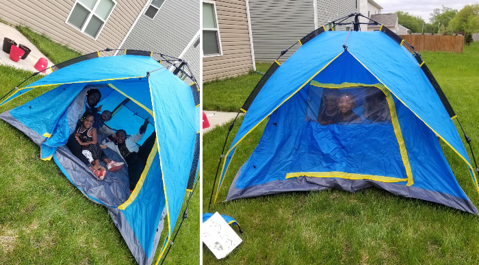 night cat four-person camping tent customer photo