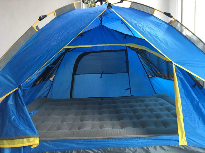 night cat four-person camping tent set up