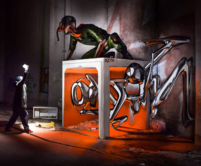 odeith jaw-dropping 3d street art apocalyptic mural