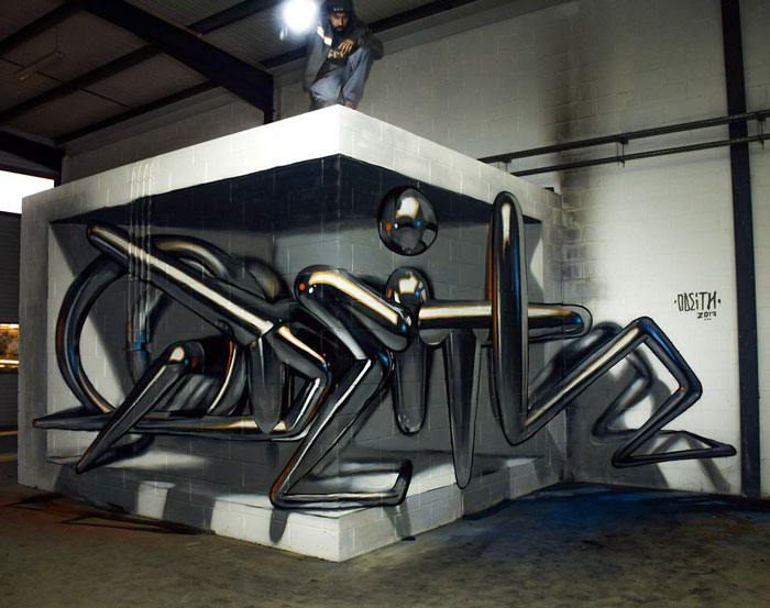 odeith jaw-dropping 3d street art chrome text