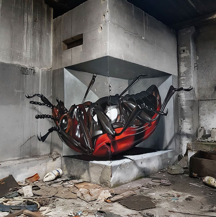 odeith jaw-dropping 3d street art red beetle