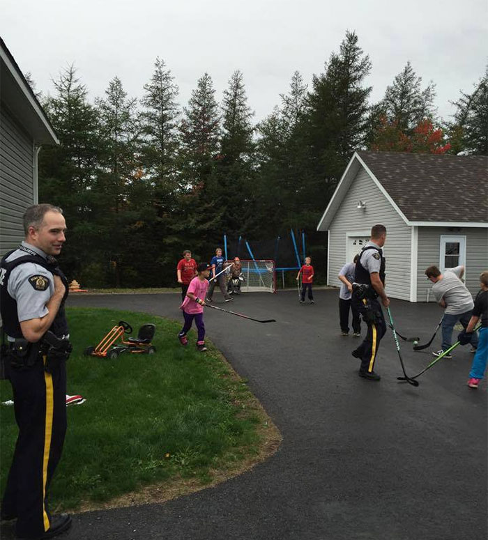 police playing hockey with kids funny meanwhile in canada pictures