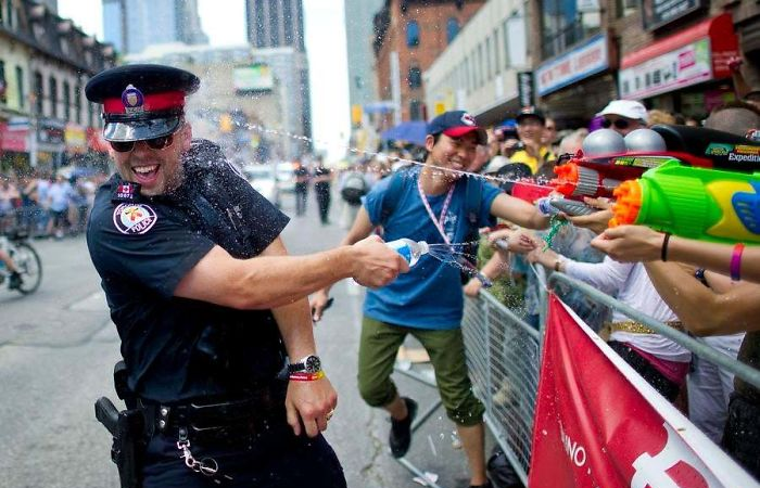 police water fight funny meanwhile in canada pictures