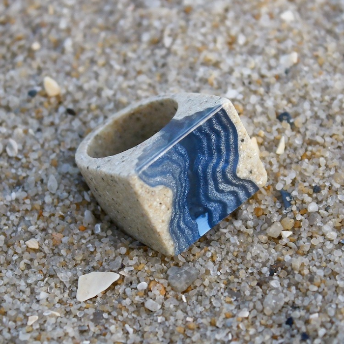 rectangular ring on sand sand and resin jewelry boldb