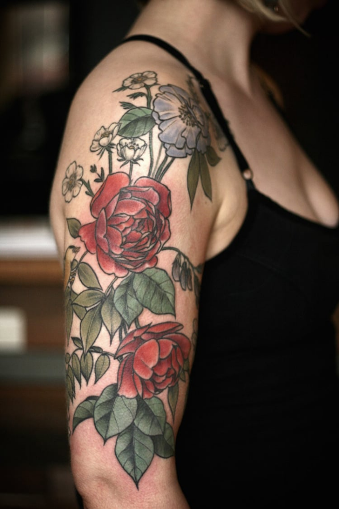 right arm best floral tattoo artists
