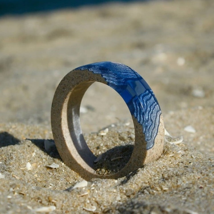 ring on sand sand and resin jewelry boldb