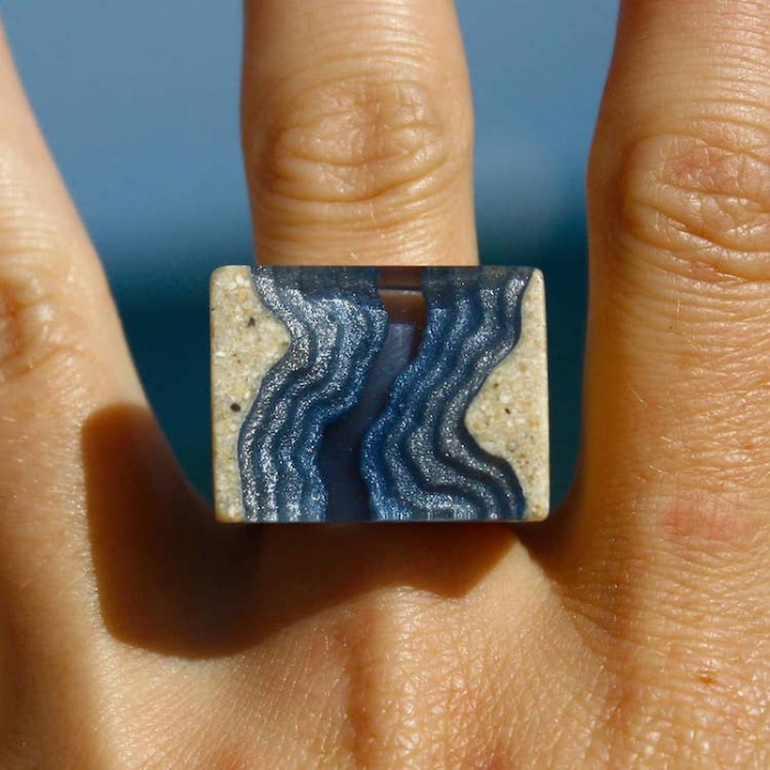 ring sand and resin jewelry boldb