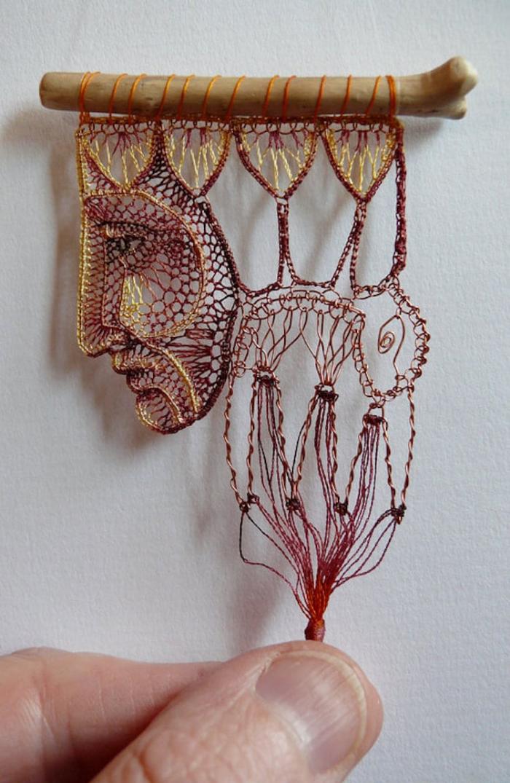 sad face lace art agnes herczeg
