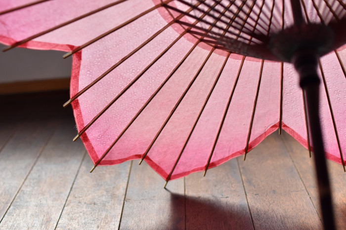 sakura-shaped parasol bamboo frame