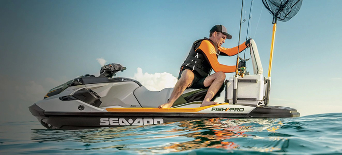 sea-doo fish pro fishing jetski built-in cooler