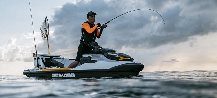 sea-doo fish pro fishing jetski in action