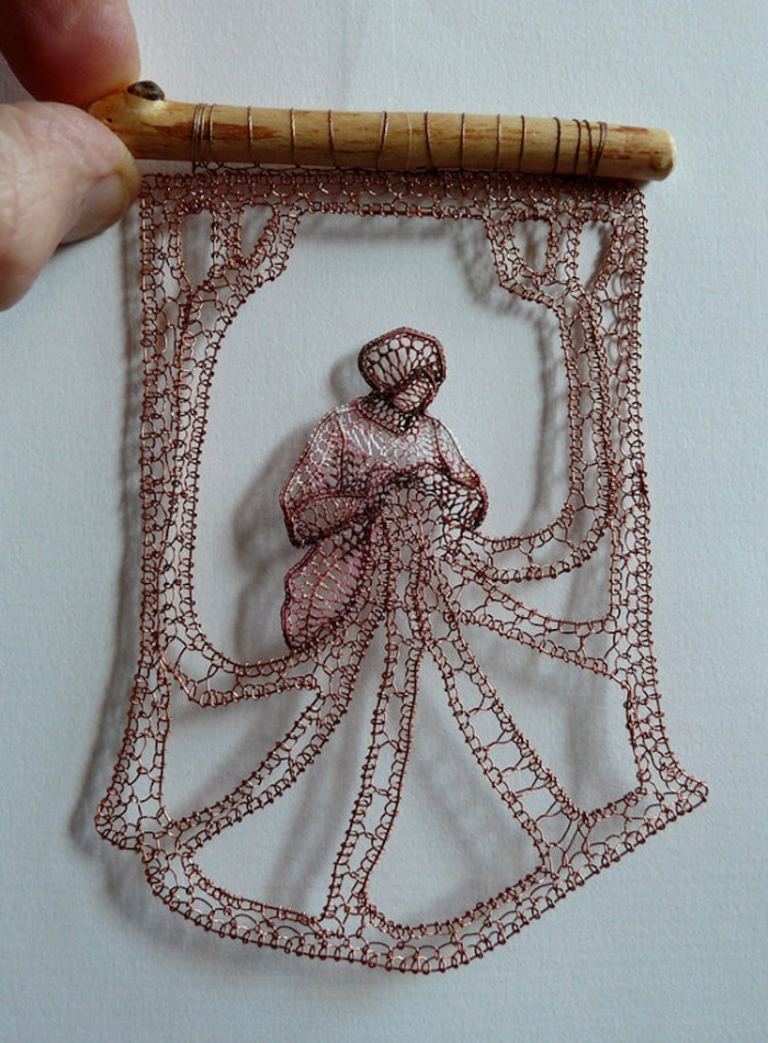 sewing lady lace art agnes herczeg