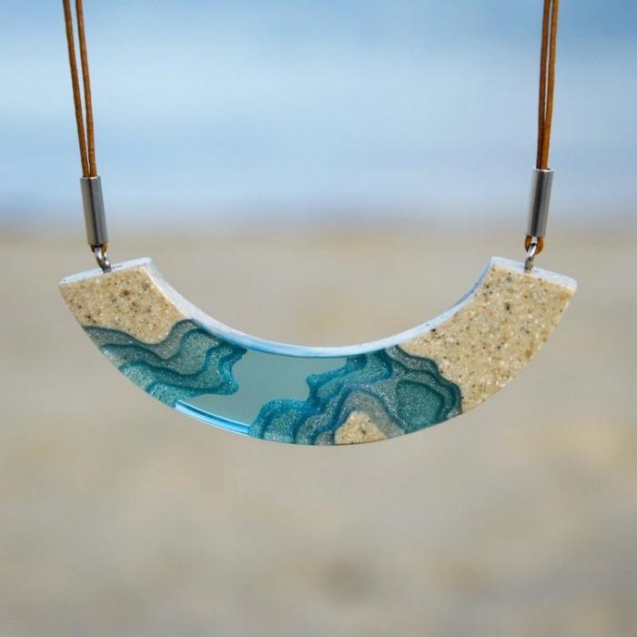 shoreline piece sand and resin jewelry boldb