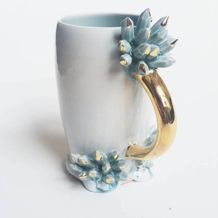 silver lining ceramics spectacular coffee mugs with crystals