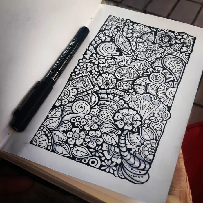 sketch book self harm zentangle therapy tutorial
