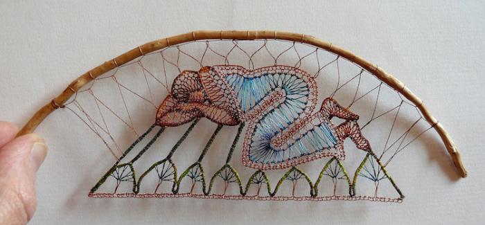 sleeping with knees bent lace art agnes herczeg