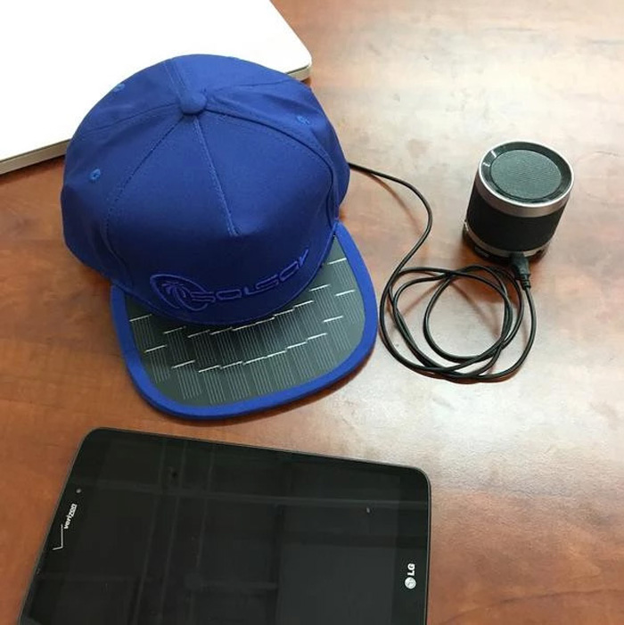 solsol solar charging hat snapback speaker