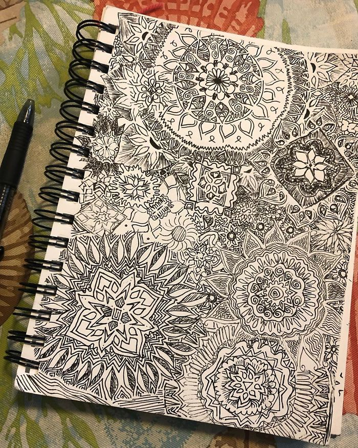 spring notebook doodles relaxing treatment self harm zentangle therapy tutorial