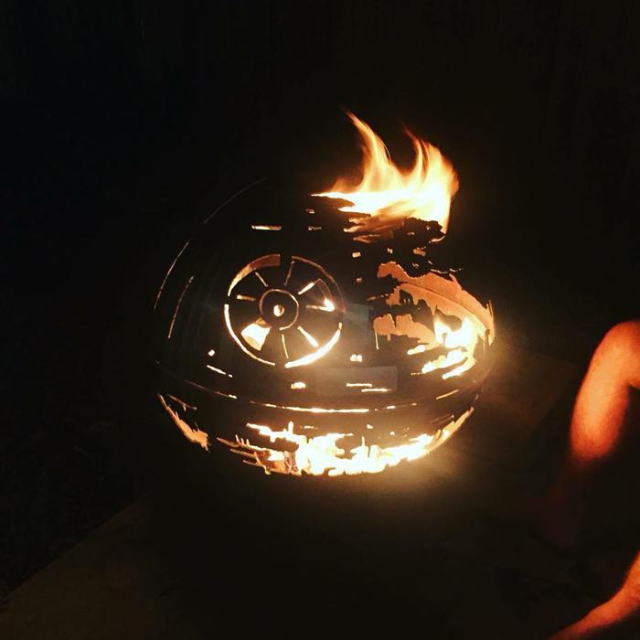 star wars death star fire pits at night