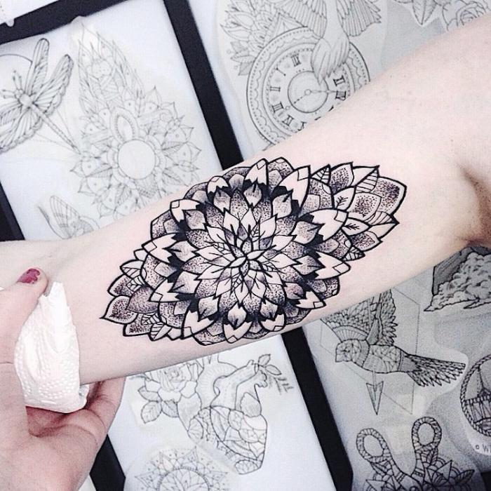 dark right arm best floral tattoo artists