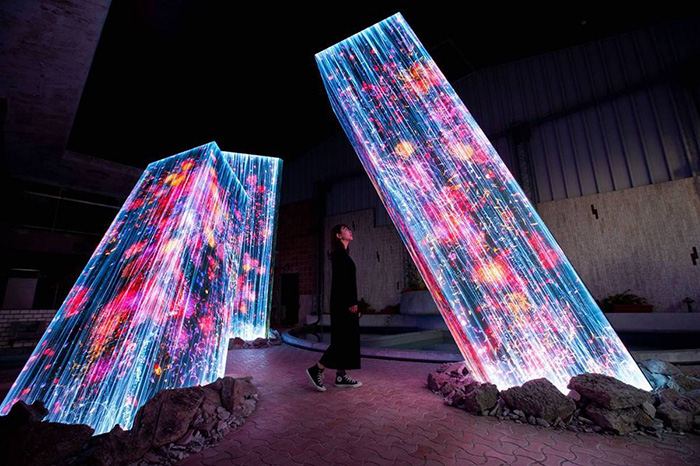 teamlab megaliths in the bath house ruins art exhibition