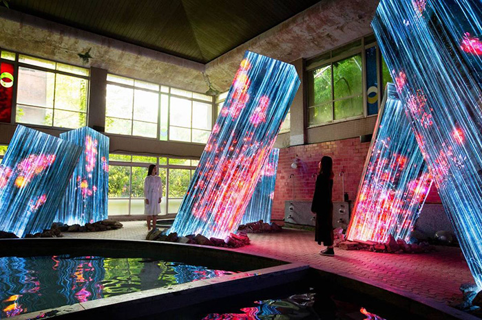 teamlab megaliths in the bath house ruins art installation