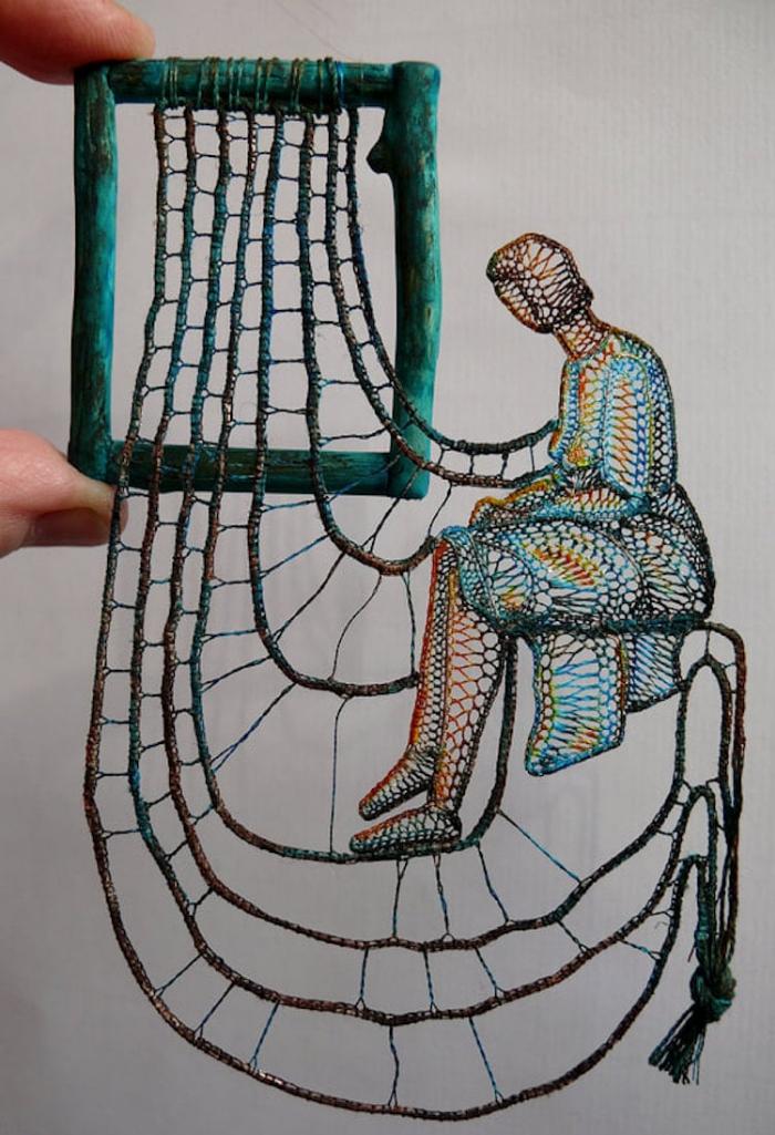 thinking while sitting lace art agnes herczeg