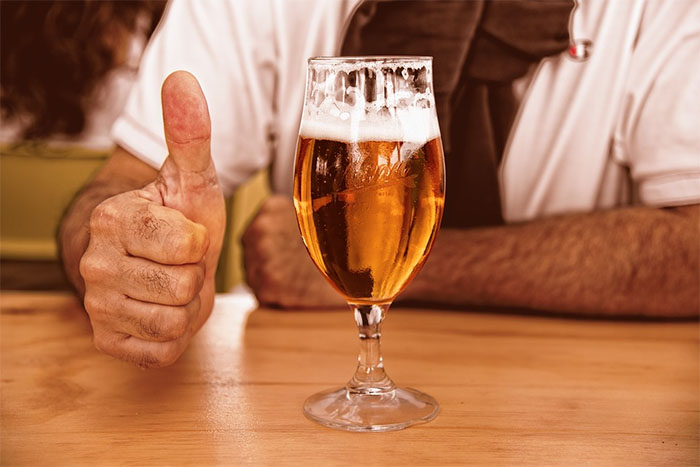 thumbs up beer