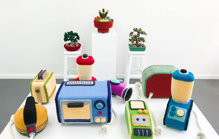 trevor smith crochet sculptures appliances