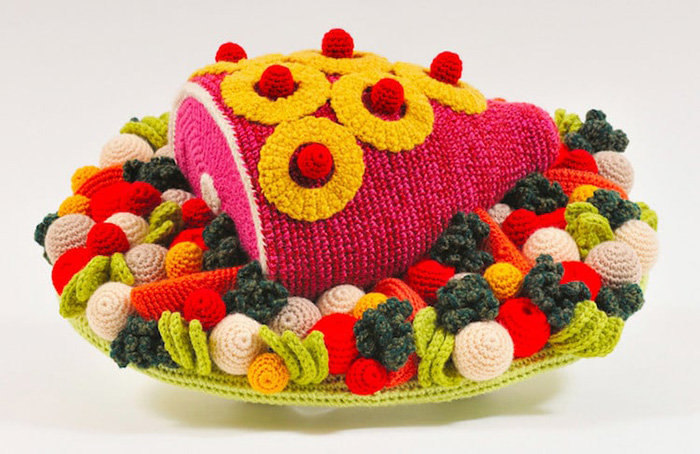 trevor smith crochet sculptures baked ham