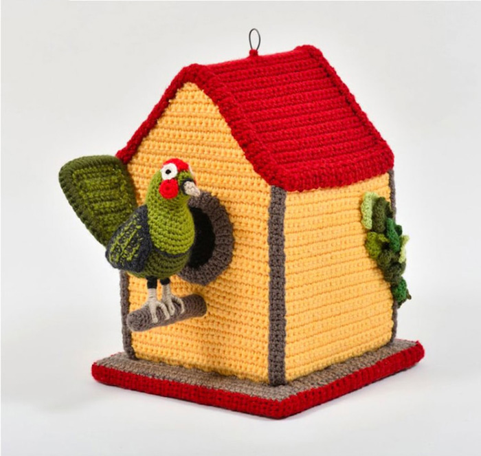trevor smith crochet sculptures bird house