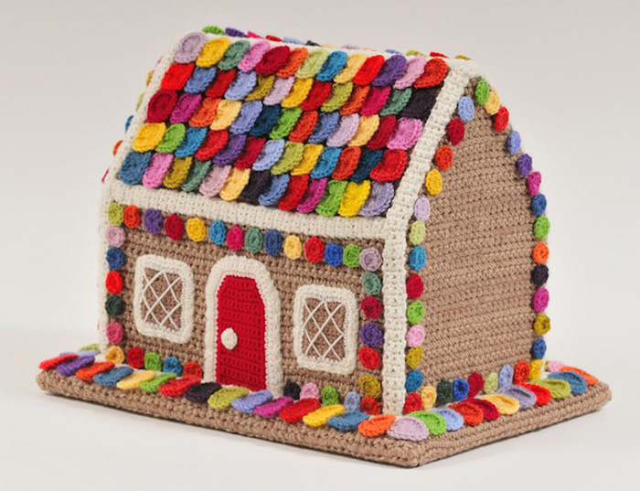 trevor smith crochet sculptures candy house