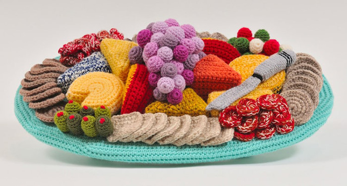 trevor smith crochet sculptures cheese platter