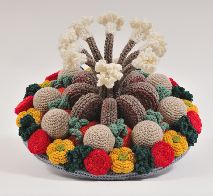 trevor smith crochet sculptures crown roast