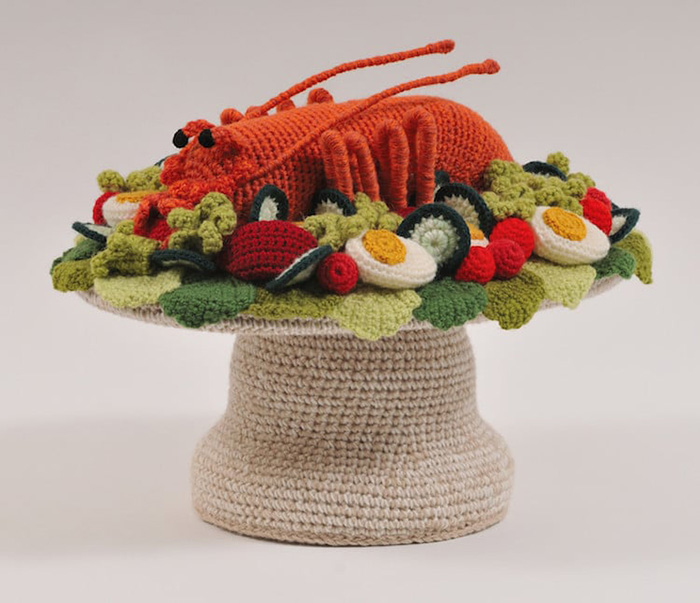 trevor smith crochet sculptures lobster platter