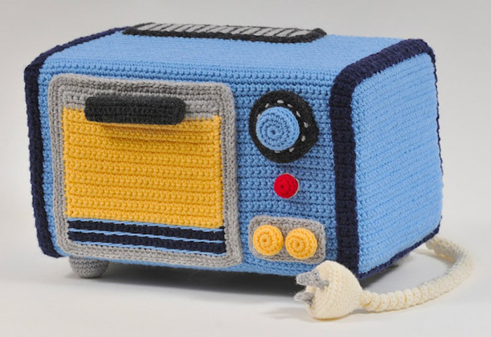 trevor smith crochet sculptures microwave oven