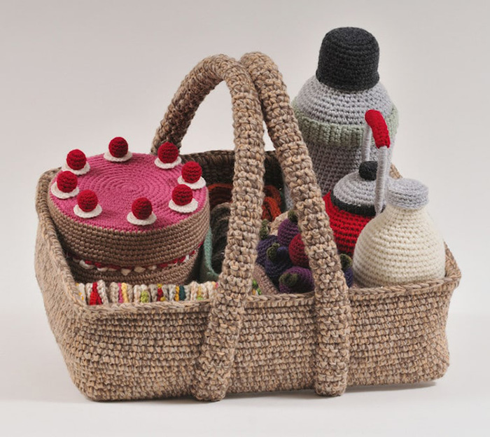 trevor smith crochet sculptures picnic basket