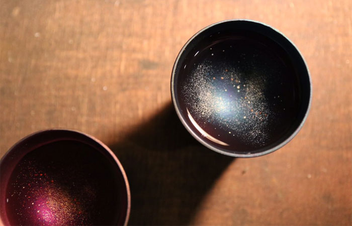 two sample galaxy cups sake design