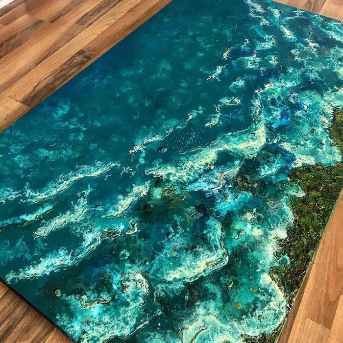 vanessa mae ocean waves paintings rocky shore