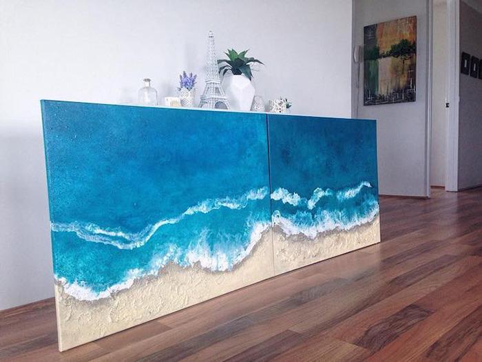 vanessa mae ocean waves paintings two-panel