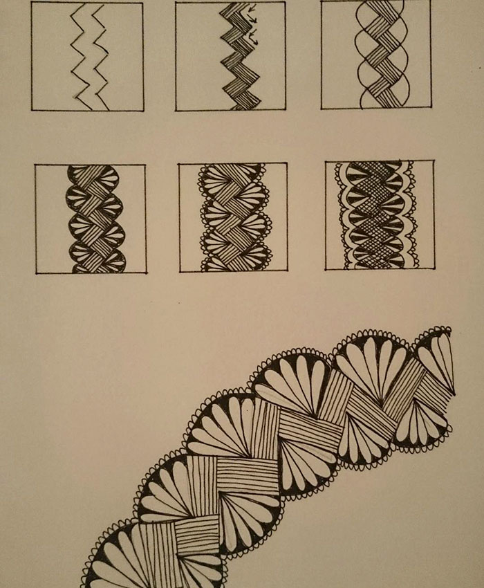 waves helix patterns self harm zentangle therapy tutorial