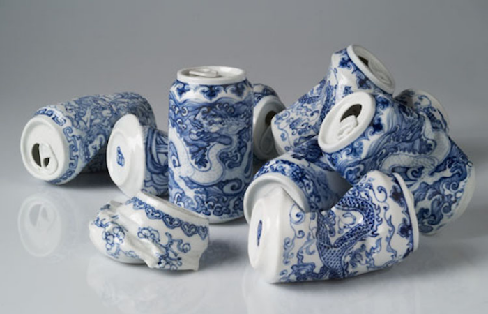 white porcelain with blue painting lei xue drinking tea