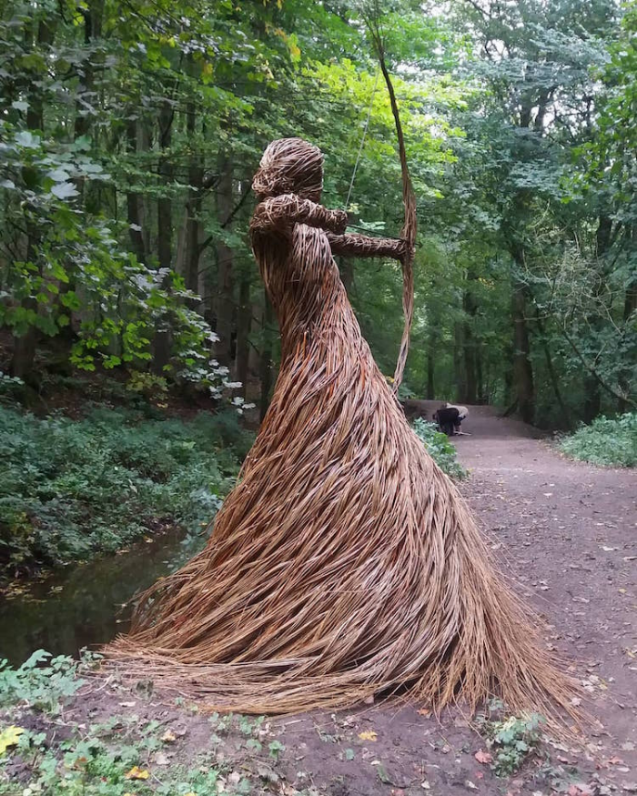 woman with bow and arrow outdoor sculptures anna and the willow
