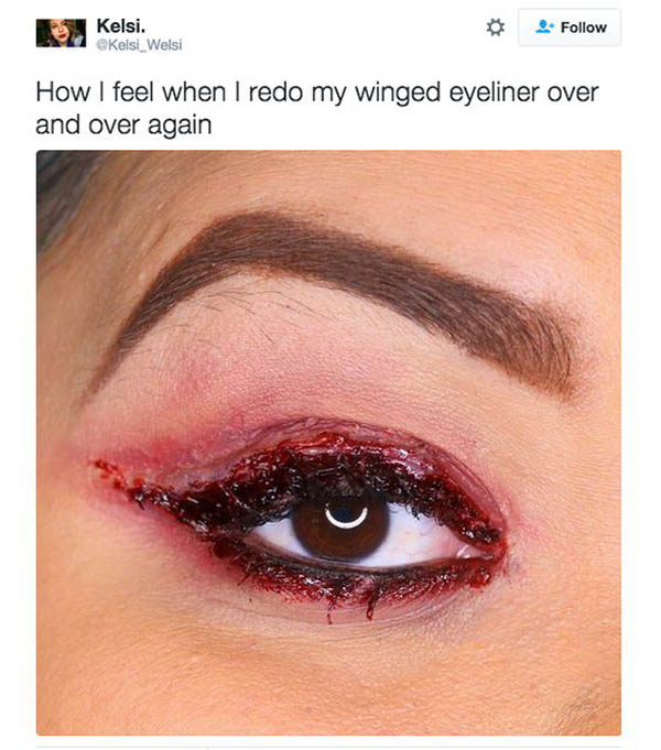 Bloody Eyeliner Humor