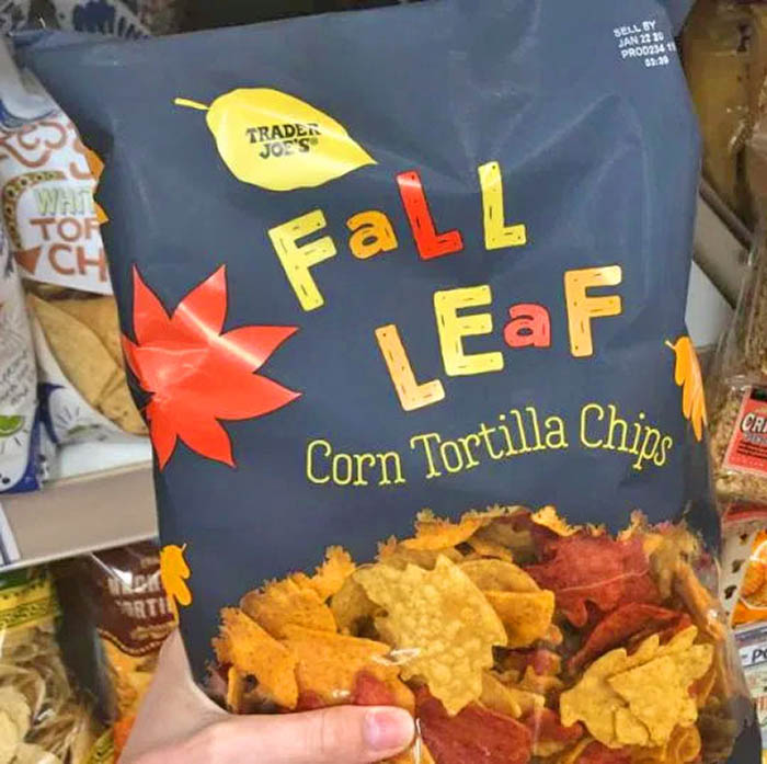 Bag of Fall Leaf Shaped Tortilla Chips Held By Hand