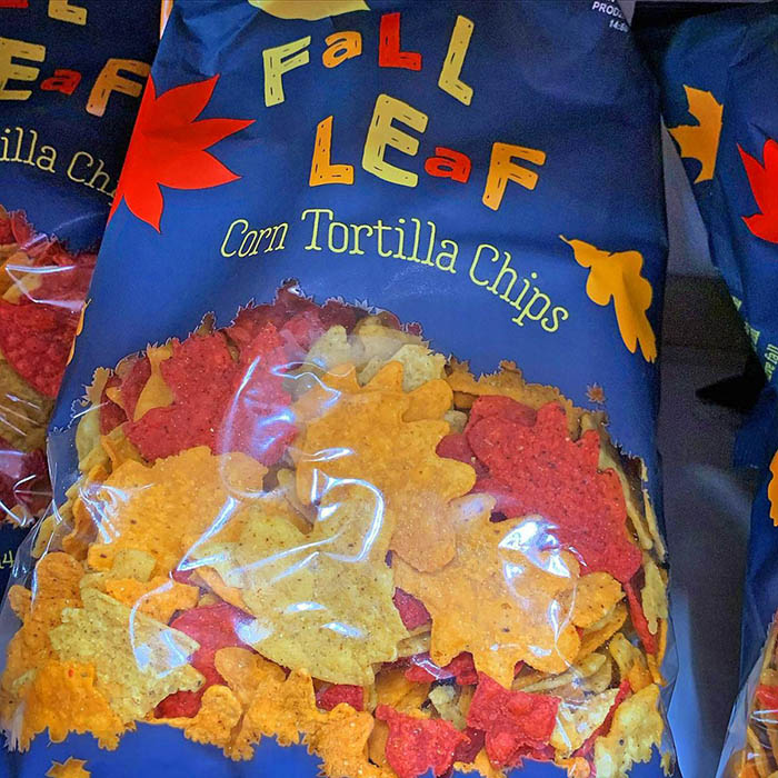 Fall Leaf Shaped Tortilla Chips Bag
